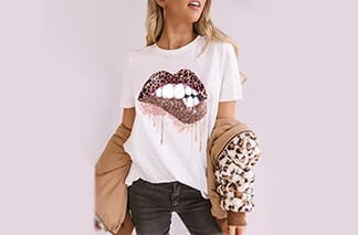 Leopard Lips O-Neck T-Shirt Tee - White