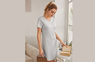 Solid Button Detail Lounge Dress
